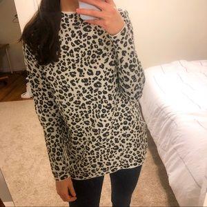 Loft Leopard Print Mock Neck Sweater